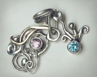 Sterling silver charms, blue pink pendants, charms future mothers, boy girl twins, sterling silver pendant, swirl pendant, recycled silver