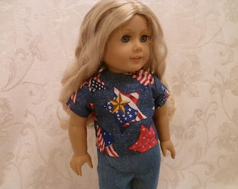18 Inch Doll Stars-n-Stripes Shirt and Jeans for American Girl Dolls