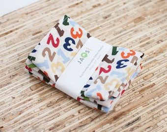 Small Cloth Napkins - Set of 4 - (N4566s) - Numbers Colorful Modern Reusable Fabric Napkins