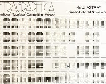 ASTRA is a Vintage Letraset Instant Lettering Rub Off Alphabet in Sheets