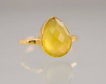 40 OFF - Yellow Chalcedony Ring - Gemstone Ring - Stacking Ring - Gold Ring - Tear Drop Ring