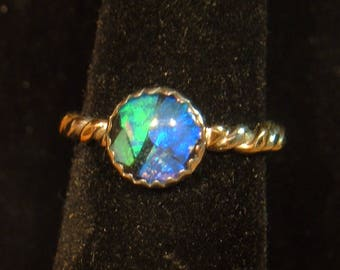 BLACK OPAL RING size 6 up to 7 14K gold filled & sterling silver