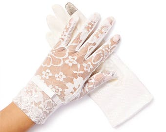 "White Lace Gloves - ""Amelie"" Vintage Lace Gloves"
