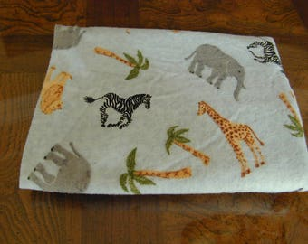 Flannel Fabric Light Blue with Elephants Zebras Giraffes and Palm Trees