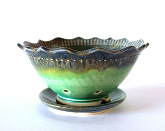 Berry Bowl/Planter with Saucer - Green/Blue - Fluted Lotus Rim - Handmade Pottery...MADE TO ORDER