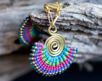 Wire and Macrame Magnetic Clasp Gauged Earrings Available in Multile Colors-
