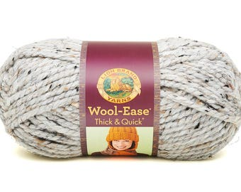 Chunky Grey DeStash Yarn - Lion Brand Wool Ease Thick & Quick, Super Bulky Wool Blend Yarn, Marble Grey