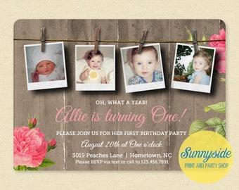 Collage Photos Birthday Invitation, girls country birthday invite, floral with woodgrain, 1st birthday or any age! 4 photos milestones
