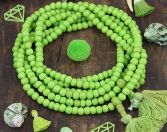 Greenery Green Bone Mala Beads, 108 beads, Exclusive Color, Boho Jewelry Making Supply, Large Hole Rondelle Beads for Bracelets, Yoga Mala