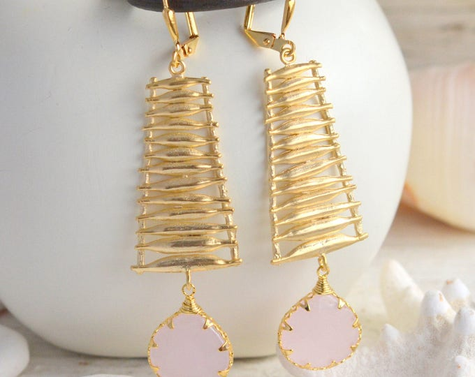 Pink Stone Ladder Statement Earrings in Gold