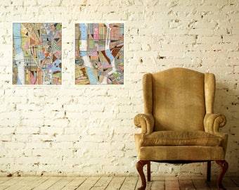 """Upper and Lower Manhattan Prints: two 17""""x22"""" archival artwork reproduction prints"""