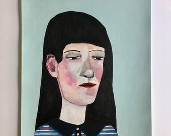 Portrait painting // Bubblehead no. 104 // original painting // illustration on paper // original art // 9 x 12