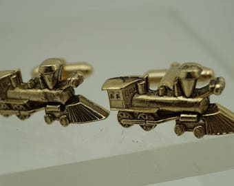 Vintage Train Engine Cufflinks Silver Tone.