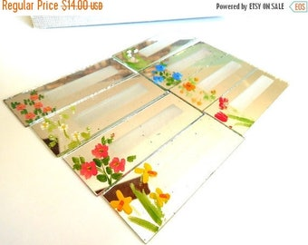 CLEARANCE SALE Place markers Mirrors hand painted flowers set of 8 Boxed Vintage 50's