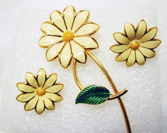 Daisy Pin and Earrings Off White and Yellow Enamel Bright and Summery