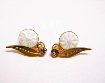 Vintage Earrings Gold with Lavender Rhinestone and white Moonglow Elegant leaf filigree