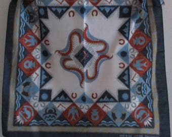 """Vintage Scarf, Poly/Cotton Bandana, Made in USA RN #14193, 22"""" Square, Native Indian Print, Unisex Scarf"""