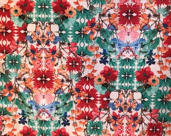 4-Way Stretch Printed Spandex Fabric - Water Lilies