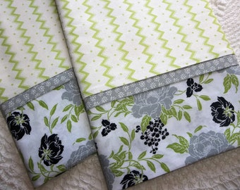 Mums Gray Green Chevron Floral Queen/Standard pillowcases love Pair romantic bed linens bedding nature cottage chic
