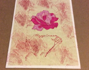 Happiness handmade greetings card, pink roses with marbled front hand colored hand stamped