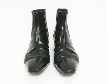 Size US 8 / Wing-Tip, Patent Leather, Italian, Pointy Toe, Ankle Boots