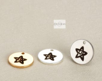 Bulksale-40 pcs cute star charm  Engraved stainless steel charms--G2096-15mm