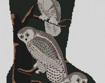 Needlepoint Christmas Stocking Canvas Snowy Owls
