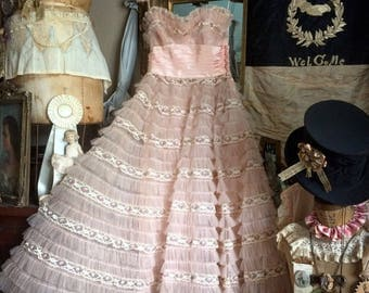 Pretty In Pink For Sure Vintage Handmade Tulle Prom Dress