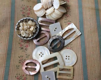 A Collection Of Antique Mother Of Pearl Buttons & Buckles