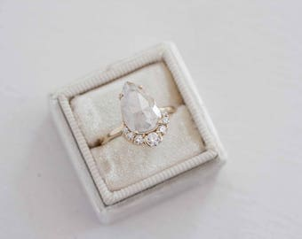 Opalescent Pear Rose Cut Diamond + Diamond Cluster Engagement Ring | 14k Recycled Gold | One of a Kind