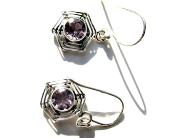 Holiday Sale, Very Beautiful Alexandrite Earrings, 925 Silver, Strengthens Creative Abilities, Changes Color Light Pink to Light Blue