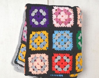 FIRE SALE 25% Off Granny Square Blanket - Black Multicolored Retro 1960s Afghan - Vintage Crochet Throw Blanket - 63 x 51 Inches