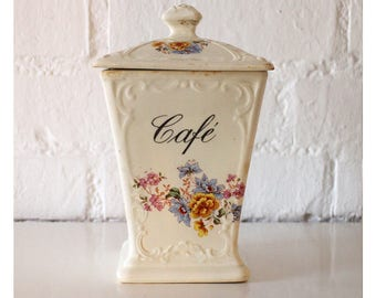 Vintage French Coffee Storage Canister - Coffee kitchen canisters - Cafe jar