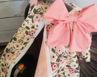 Car seat Canopy Girl Floral Carseat Cover with Large bow carseat canopy car seat cover carseat : car canopy baby - memphite.com