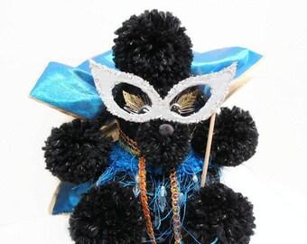 Masquerade Crochet Toilet Tissue Cozy, Kitsch Toilet Paper Poodle Cozy, Glam Diva Poodle Toilet Roll Cozy, Black Poodle, Mardi Gras, Pompoms