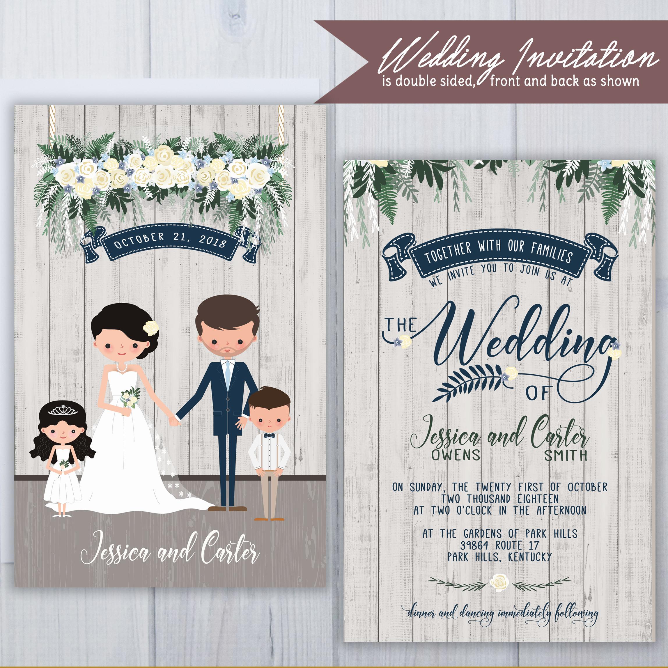 Blended Family Wedding Invitations | Illustrated Wedding Invitations ...