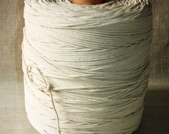 50 % DISCOUNT - SUPER SALE 4 mm of 1 Spool = 622 Yards = 568 Meter of Cotton Rope Natural and Elegant Cotton Twisted Cord