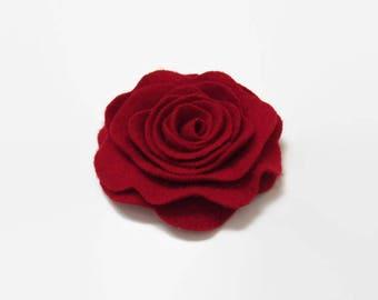 Scarlet Red Flower Pin // Cashmere Rose Flower Pin // Red Felted Wood Floral Brooch // Rose Brooch