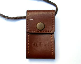 Marlboro Hard Leather Pouch Necklace // Vintage Cigarette Promotion Lighter Case