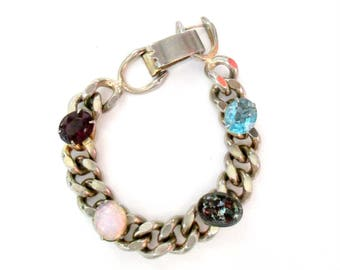 Cuban Chain Bracelet With Colorful Glass Stones