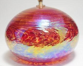 Vintage James Alloway Iridescent Purple Art Glass Oil Lamp, Alloway Art Glass Oil Lamp, James Alloway Art Glass, Blown Art Glass Oil Lamp
