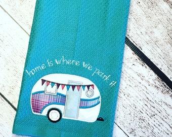 Happy Camper kitchen hand towel