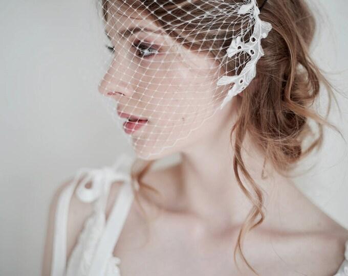 Bridal Birdcage Veil, Lace Bridal Veil, Lace Veil, Lace on Veil, White Veil, Ivory Veil, Bandeau Veil, Wedding Veil, Bird Cage Veil