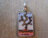 Mexican Loteria El Nopal Cactus Pendant Sterling Silver and Shrinky Dink Shrink Plastic Jewelry
