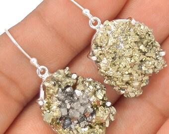"""Pyrite Sterling Silver Dangle Earrings. 1 3/8"""" Long. 2922"""