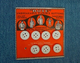 Vintage Antique Buttons on Original Boye Card, Great Graphics