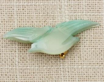 Aqua Bird Brooch Vintage Mother of Pearl Green Pastel Dove Broach Vtg Pin 7T