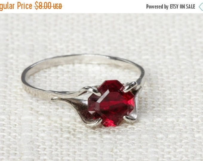 Ruby Red Rhinestone Vintage Ring Silver 6.5 mm or 7.5 mm US Womens Sizes 7D
