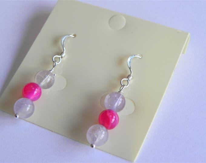 Lavender amethyst and pink agate gemstone sterling silver drop earrings