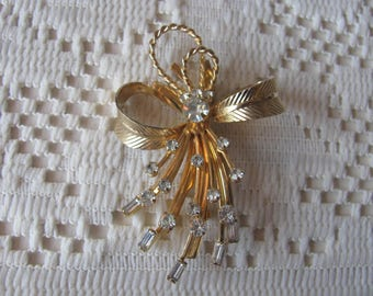 Vintage Sarah Coventry Bow Brooch, Baguette & Round Rhinestone Spray